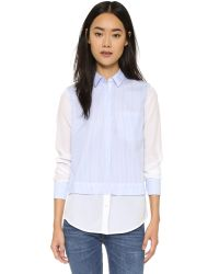 Vince | Blue Striped Block Shirt | Lyst