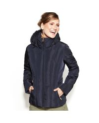 Calvin Klein Blue Hooded Quilted Puffer