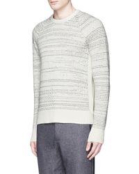 Rag & Bone White 'justin' Birdseye Stripe Cashmere Sweater for men