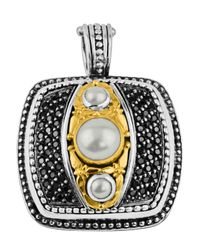 Konstantino | Square Black Spinel & Pearl Pendant Enhancer | Lyst