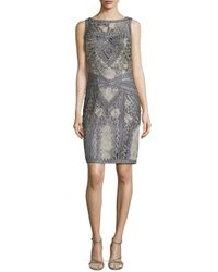 Sue Wong | Gray Floral Embroidered Beaded Sheath Dress | Lyst