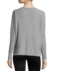 Vince - Gray Long-sleeve Slub-knit Sweater - Lyst