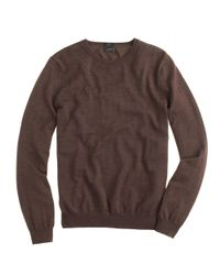 J.Crew - Brown Slim Merino Wool Crewneck Sweater for Men - Lyst