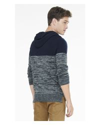 Express - Blue Color Block Marled Hooded Sweater for Men - Lyst