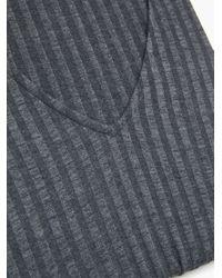 Mango - Gray Ribbed T-shirt - Lyst