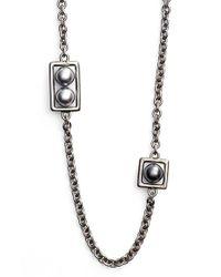 St. John | Metallic Glass Pearl Necklace | Lyst