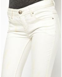 Free People - White Mid Rise Destroyed Ankle Jeans - Lyst
