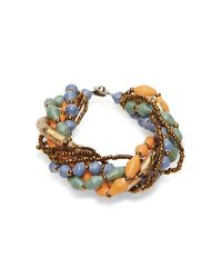 31 Bits - Orange, Sage And Blue Beaded Bracelet - Lyst