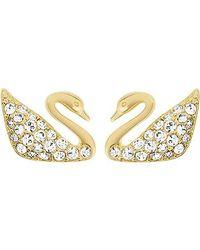 Swarovski Metallic Swan Mini Pierced Earrings
