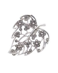 Lord & Taylor | Metallic Sterling Silver And Marcasite Filigree Leaf Pin | Lyst