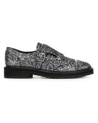 Giuseppe Zanotti - Gray Glitter Buckled Leather Loafers - Lyst