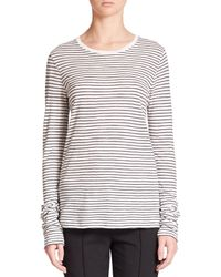 VINCE | White Feeder Striped Cotton Jersey Top | Lyst
