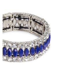 Kenneth Jay Lane Blue Crystal And Lapis Elasticated Bracelet