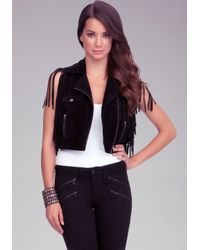 Bebe - Black Leather Moto Jacket - Lyst