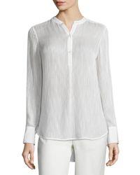 Vince - White Textured Silk-blend Blouse - Lyst