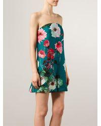 Delpozo - Multicolor Strapless Floral Romper - Lyst