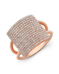 Anne Sisteron - Pink 18kt Rose Gold Diamond Square Ring - Lyst