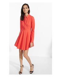 Express Pink Sour Cherry Fit And Flare Shirt Dress