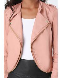 Bebe | Brown Nikki Zipper Jacket | Lyst