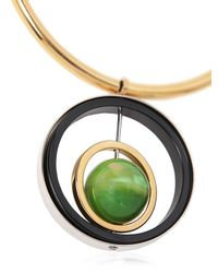 Marni | Green Resin, Horn & Leather Necklace | Lyst