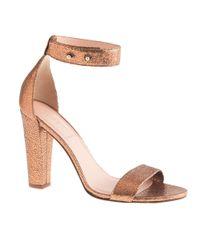 J.Crew Brown Lanie Crackled Metallic Leather Stackedheel Sandals