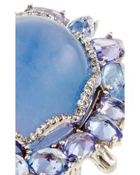 Nina Runsdorf - 18K White Gold Blue Chalcedony And Blue Sapphire Ring - Lyst