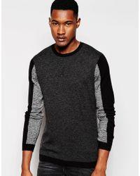 ASOS | Black Colour Block Jumper In Merino Wool Mix for Men | Lyst