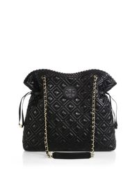 Tory Burch - Black Marion Quilted Slouchy Tote - Lyst