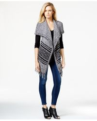 Kensie | Gray Fringed Asymmetrical Sweater Vest | Lyst