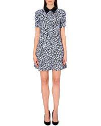 Sandro Black Heart-print Sequinned Collar Dress