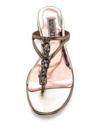 Badgley Mischka Metallic Kittie Jeweled Flat Sandals