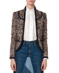 Saint Laurent Black Embellished Paisley Jacket