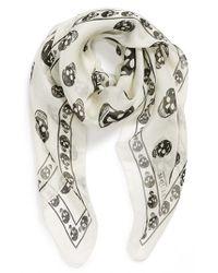 Alexander McQueen - White Skull Print Silk Chiffon Scarf for Men - Lyst