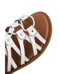 AKIRA Strappy Gladiator Lace Up White Sandals