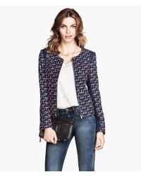H&M | Blue Jacket in A Textured Weave | Lyst