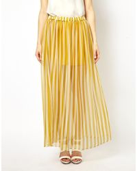 Traffic People - Yellow Anchors and Stripes Silk Maxi Skirt - Lyst