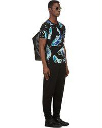 KENZO Blue Black Big Fish Print T_shirt for men
