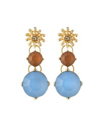 R.j. Graziano | Blue Rhinestone Sunburst Drop Earrings | Lyst