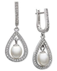 Macy's - Metallic Cultured Freshwater Pearl (5mm) And White Topaz (2/5 Ct. T.w.) Drop Earrings In Sterling Silver - Lyst