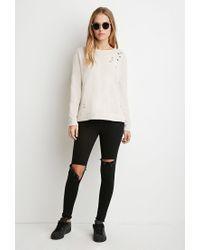 Forever 21 | Natural Dolman-sleeve Distressed Sweatshirt | Lyst