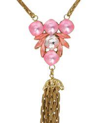 Lulu Frost   Pink Gold-Plated Swarovski Crystal Necklace   Lyst