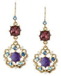 Betsey Johnson | Metallic Antique Gold-tone Flower Medallion Crystal Drop Earrings | Lyst