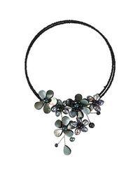 Aeravida | Black Multi Flower Pearl Cluster Choker Wire Wrap Necklace | Lyst