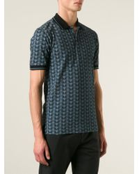 Dolce & Gabbana Blue Owl-Print Cotton Polo Shirt for men