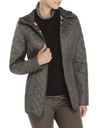 Laundry by Shelli Segal | Green Diamond Quilted Hooded Jacket | Lyst