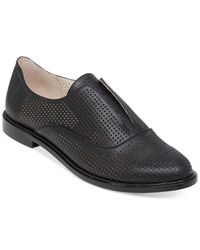 BCBGeneration | Black Briskb Perforated Oxford Flats | Lyst
