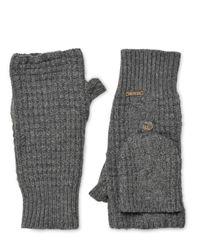 Bark Gray Wool Blend Fingerless Mittens for men