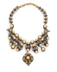 Erickson Beamon | Metallic Stratosphere Crystal & Faux Pearl Statement Bib Necklace | Lyst