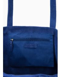 Mango Blue Suede Shopper Bag