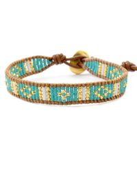 Chan Luu | Blue Turquoise Mix Beaded Cuff Bracelet On Beige Leather | Lyst